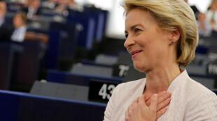 Tân chủ tịch Ủy Ban Châu Âu Ursula von der Leyen cảm ơn các nghị viên sau khi thông báo kết quả cuộc bỏ phiếu tại Nghị Viện Châu Âu, Strasbourg, Pháp, ngày 16/07/2019.