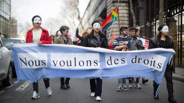 "Prostitutes demonstrate in Paris with the slogan ""We want rights"",  28 March 2015"