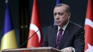 Le président turc Recep Tayyip Erdogan en conférence de presse à Ankara, le 23 mars 2016.