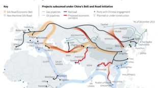 La carte de la nouvelle route de la soie, «Belt and Road Initiative».