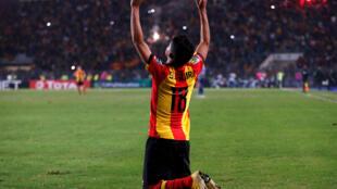 Le milieu offensif de l'Espérance Tunis, Saad Bguir, buteur en finale de la Ligue des champions 2018 face à Al Ahly.