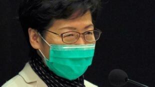 林鄭月娥在新聞發布會上帶着口罩 2020年1月28日