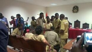 The young activists are seen here at their trial in Luanda earlier this month