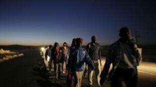 Des migrants africains marchent dans le désert, après avoir abandonné leur centre de détention «ouvert», implanté dans le sud désertique israélien, le 15 décembre 2013.