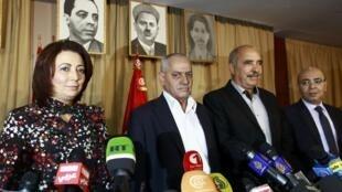 Le Quartet pour le Dialogue national tunisien, le 21 octobre 2013, lors d'une conférence de presse, à Tunis, en Tunisie.