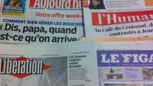 Primeiras páginas dos diários franceses de 1/8/2014