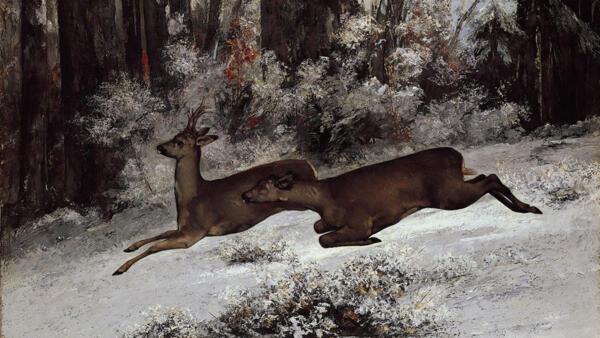 Pintura realizada na França em 1866 mostra a caça aos cervos.
