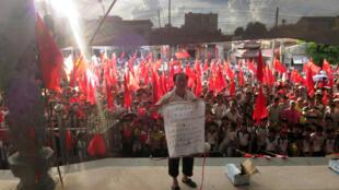 Dân làng Ô Khảm biểu tình đòi trả tự do cho trưởng thôn Lâm Tổ Loan. Ảnh chụp ngày 20/06/2016.