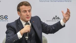 O presidente francês durante a 56° conferência de Segurança de Munique, na Alemanha