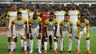 Les joueurs du Mamelodi Sundowns, le 5 mars 2019 avant un match contre Cape Town City.