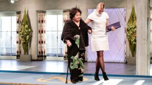 Cụ bà Setsuko Thurlow, người sống sót sau quả bom nguyên tử Hiroshima, đại diện tổ chức ICAN nhận giải Nobel Hòa Bình 2017, Oslo, ngày 10/12/2017.