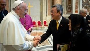 罗马教宗方济各会见台湾副总统陈建仁 2018年10月资料图片