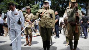 Hình ảnh binh sĩ của chế độ quân phiệt Nhật được tái hiện tại đền Yasukuni, Tokyo ngày 15/08/2018, nhân kỷ niệm 73 năm Nhật đầu hàng đồng minh kết thúc Đệ nhị Thế chiến.