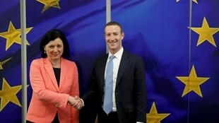 Facebook CEO Mark Zuckerberg end European Commissioner for Values and Transparency Vera Jourova in Brussels, 17 February 2020.