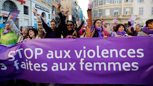 A demonstration in 2018 in Marseille to protest violence against women