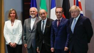 وزرای خارجه ایران، فرانسه، آلمان، بریتانیا و فدریکا موگرینی، مسئول سیاست خارجی اتحادیه اروپا
