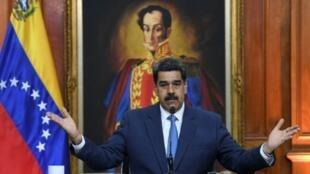 El presidente venezolano Nicolás Maduro ofrece una rueda de prensa con corresponsales extranjeros, el 14 de febrero de 2020