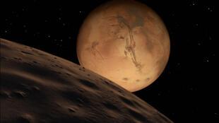 La planète Mars vue de la Lune.