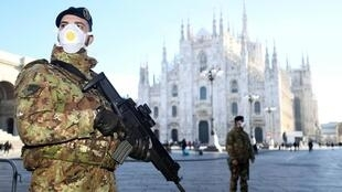 Milan's Duomo was closed following the coronavirus outbreak as the northern region of Lombardy went into lockdown..