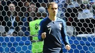 Antoine Griezmann, autor do primeiro golo de França no Mundial 2018.