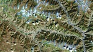 圖為周一藏區地震震區範圍圖