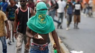 Manifestation dans les rues de Port-au-Prince pour demander la démission du président Jovenel Moïse.