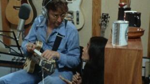 John Lennon and Yoko Ono during the making of the legendary pop album, 'Imagine', in 1971