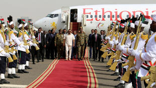 Ethiopian prime minister, Abiy Ahmed, on his arrival in Khartoum to meet the rival sides.