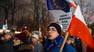 Manifestation contre la «loi muselière» sur la justice établie en Pologne, en janvier 2020 à Varsovie.