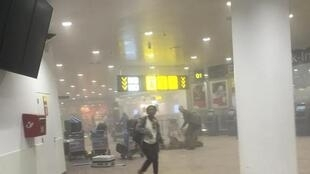 Inside Brussels Zaventem international airport shortly after the attacks, 22 March 2016.