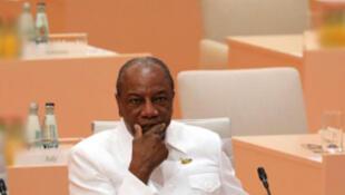 Le président guinéen, Alpha Condé. Hambourg, juillet 2017.