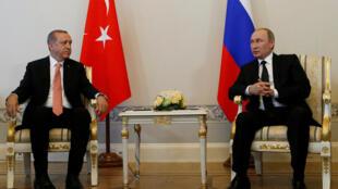 Presidente turco Recep Tayep Erdogan e Presidente russo Vladimir Putin a 9 de Agosto 2016 em São Petersburgo.