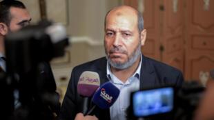 Khalil al-Hayya, leader du Hamas, lors d'une conférence de presse en marge de négociations interpalestiniennes, au Caire, le 22 novembre 2017.