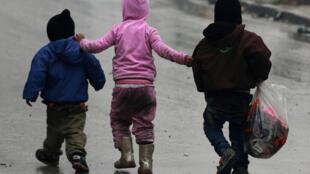 Children in Aleppo on Tuesday
