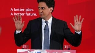 Britain's Labour Party leader Ed Miliband makes a speech on immigration at a campaign event in Pensby