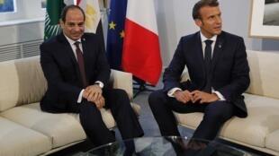 Emmanuel Macron et le président égyptien Abdel Fattah al-Sissi au G7 à Biarritz le 26 août 2019.