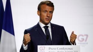 O presidente francês, Emmanuel Macron, durante conferência de imprensa na Cúpula do G7, em Biarritz, França. 26 de Agosto de 2019.