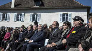 French President François Hollande at the 71st anniversary commemoration of the roundup of 44 Jewish orphans by the Gestapo in Izieu, 6 April 2015.