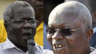 Armando Guebuza e o líder da Renamo Afonso Dhlakama em 2009 durante a campanha presidencial.