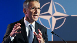NATO Secretary General Jens Stoltenberg gestures as he gives a news conference ahead of a summit that will gather leaders of the 29 alliance members in Brussels, Belgium, July 10 2018.