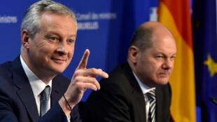 Министр финансов Франции Брюно ле Мэр и вице-канцлер Германии Олаф Шольц