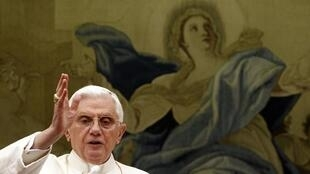 Pope Benedict XVI during his Angelus prayer on Sunday in which he addressed French pilgrims