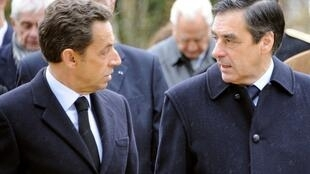 Presidente, Nicolas Sarkozy, e primeiro-ministro, François Fillon, da França a 9 de Novembro no leste do país.