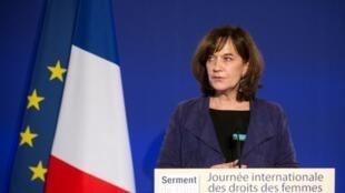 A ex-ministra dos direitos da mulher Laurence Rossignol. Foto do 08/03/17