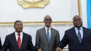 Le président ougandais, Yoweri Museveni, l'Angolais, João Lourenço,le chef de l'Etat rwandais, Paul Kagame et le président de la RDC Félix Tshisekedi lors d'une précédente rencontre 2 février 2020.