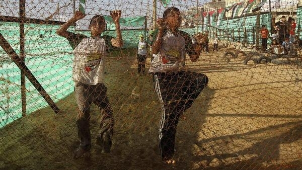 Palestinian boys at a summer camp in Gaza City