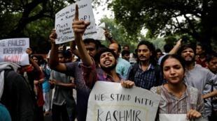 Manifestation en soutien aux Cachemiris, à New Delhi, le 5 août 2019.