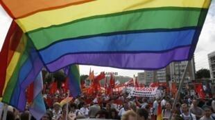 """Manifestação de  ativistas gays que reivindicavam a revogação da lei que pune a """"propaganda homossexual"""", no dia 12 de junho de 2013."""