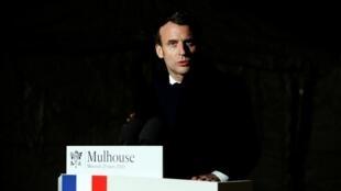 امانوئل ماکرون، رئیس جمهوری فرانسه – مولوز، ٢۵ مارس ٢٠٢٠