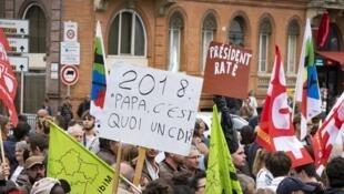 Manifestação em Toulouse contra a reforma trabalhista.